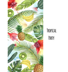 Watercolor vertical banner tropical leaves vector