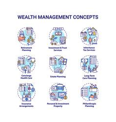 Wealth management concept icons set vector