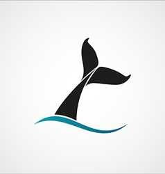 Whale tail wave logo sign emblem on white vector