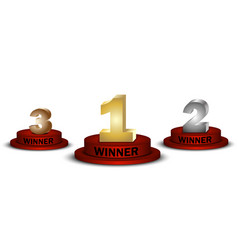 winner number one two and three on round pedestal vector image