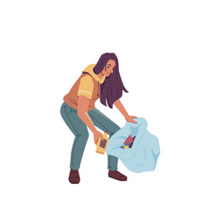 woman with bag gathering garbage trash isolated vector image