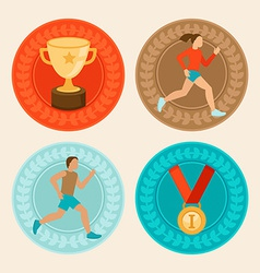 achievement badges in flat style vector image vector image