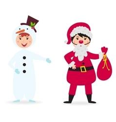 Cute kid wearing Christmas costume vector image vector image