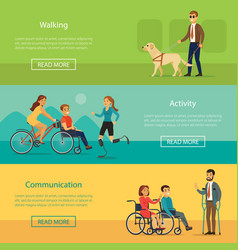 disabled people horizontal banners vector image
