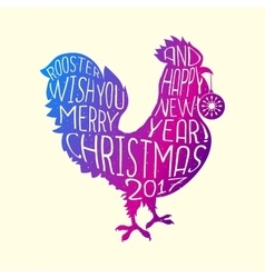 Rooster wish you merry christmas and happy new vector