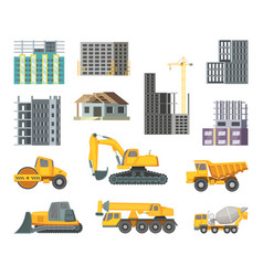 big heavy yellow machines and modern buildings at vector image