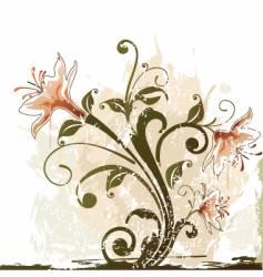 Grunge flower design vector