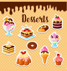 pastry dessert cakes on waffle poster vector image