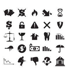 Set of crisis business signs and logos vector