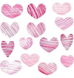 Set of hatching hearts vector