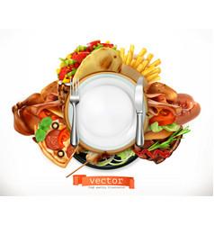 fast food logo sandwich steak chicken french vector image
