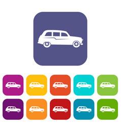 Retro car icons set vector
