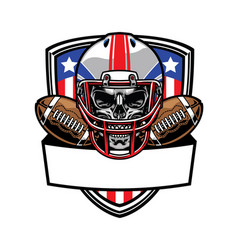 skull wearing american football helmet vector image