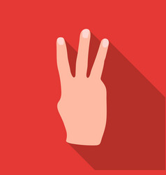 three fingers icon in flat style isolated on white vector image