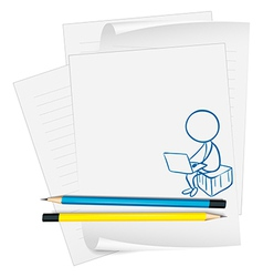 A paper with a drawing of a boy using a laptop vector image vector image