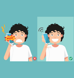 do not phone call in charging battery vector image