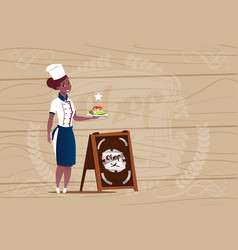 female african american chef cook holding with vector image