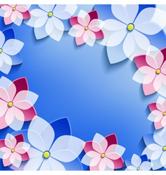 Floral festive frame with 3d flowers sakura vector image vector image