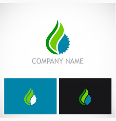 gear abstract water drop ecology logo vector image