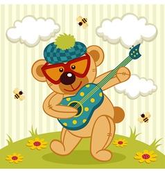 teddy bear play on a guitar vector image vector image