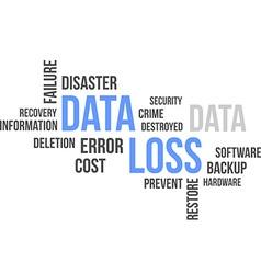 word cloud data loss vector image vector image