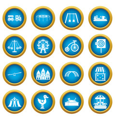 amusement park icons blue circle set vector image