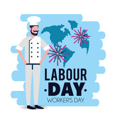 Baker with uniform to celebrate labour day vector