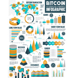 bitcoin cryptocurrency infographic crypto money vector image