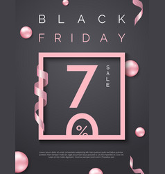 black friday sale poster with pink square frame vector image
