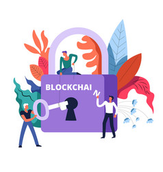 blockchain technology lock and workers holding key vector image
