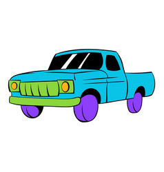 Blue pickup icon cartoon vector