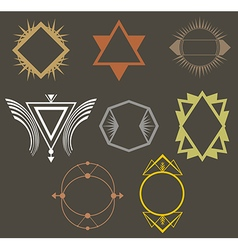 Boho tribal hipster labels set vector image
