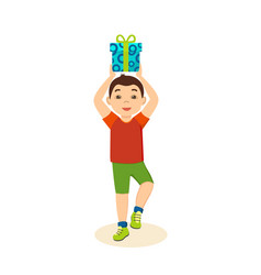 Boy in festive mood cheerful holding gi vector