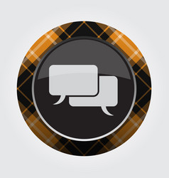 Button - white black tartan two speech bubbles vector