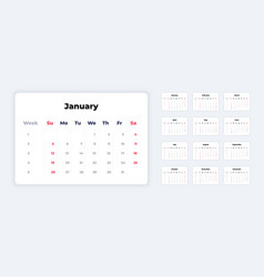 calendar 2020 new year white template corporate vector image
