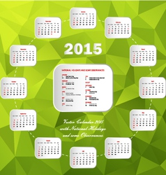 Calendar usa holidays circle green vector