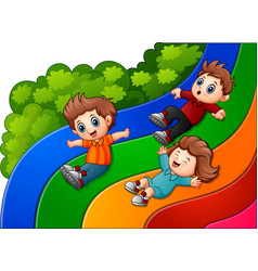 Cartoon kids sliding down vector