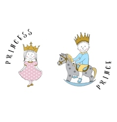 Cartoon princess and prince vector image