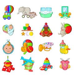 Childish icons set cartoon style vector