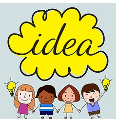 Children with idea concept vector image