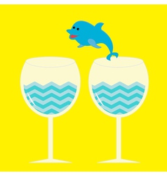 Cocktail drink glasses and jumping dolphin vector