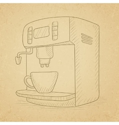 Coffee maker with cup vector