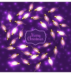 Colorful Glowing Christmas Lights on violet vector image