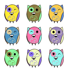 Colorful set with owls vector image