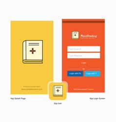 Company health book splash screen and login page vector