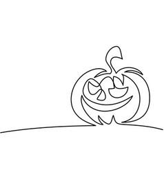 Continuous line drawing halloween pumpkin vector