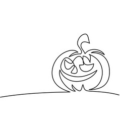 Continuous line drawing of halloween pumpkin vector