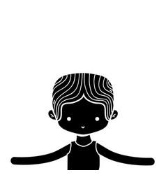 Contour boy dancing ballet with t-shirt and vector