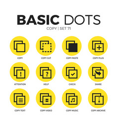Copy flat icons set vector