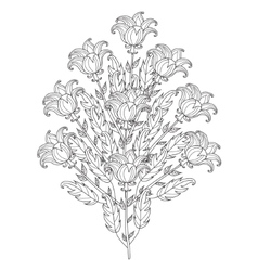 decorative black and white flowers vector image